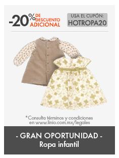 Hot Sale en Linio: Cupón del 20% en toda la ropa de infantiles