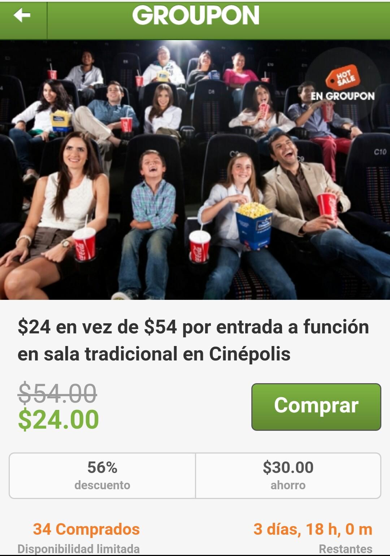 Hot Sale en Groupon: $24 Cinepolis, Salas Tradicionales de Lunes a Viernes