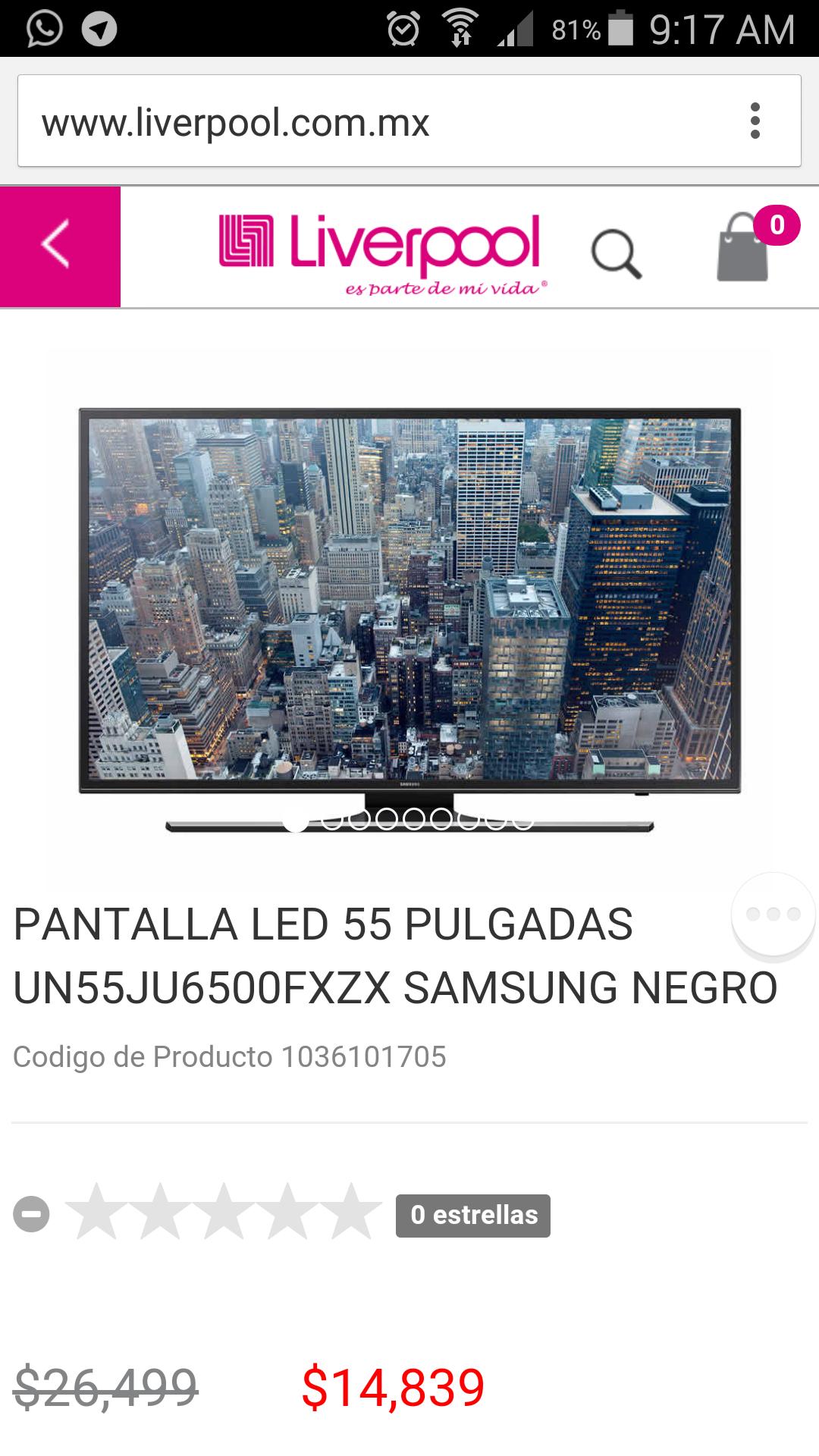 Hotsale 2015 en Liverpool: TV Samsung UHD 55 pulgadas a $14,839