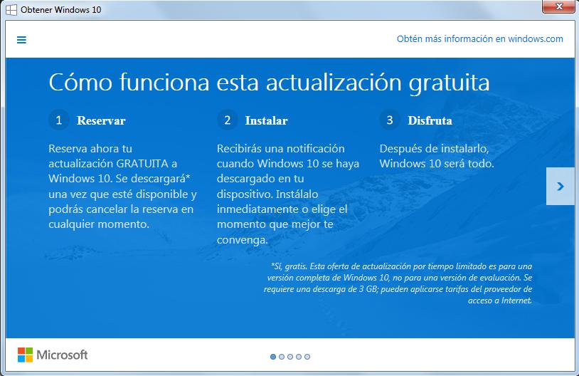 Notificación de reserva para la versión completa de Windows 10 GRATIS