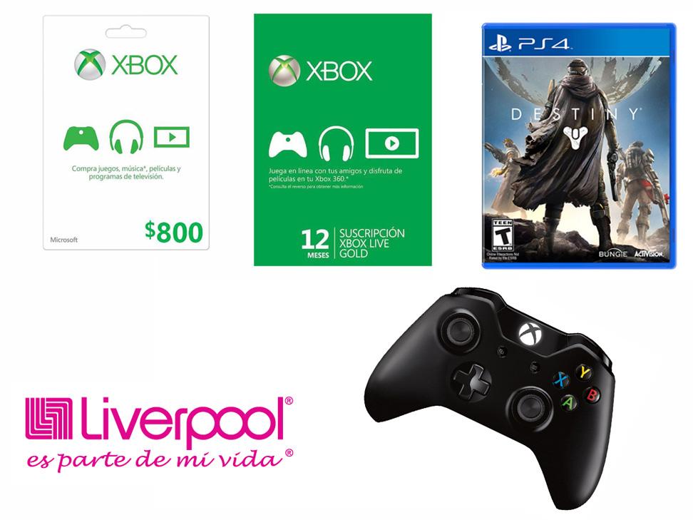 Liverpool: Tarjetas Xbox Live (ej. la de $800 a $640) Destiny para Xbox One y PS4 a $399 Envío Gratis y más