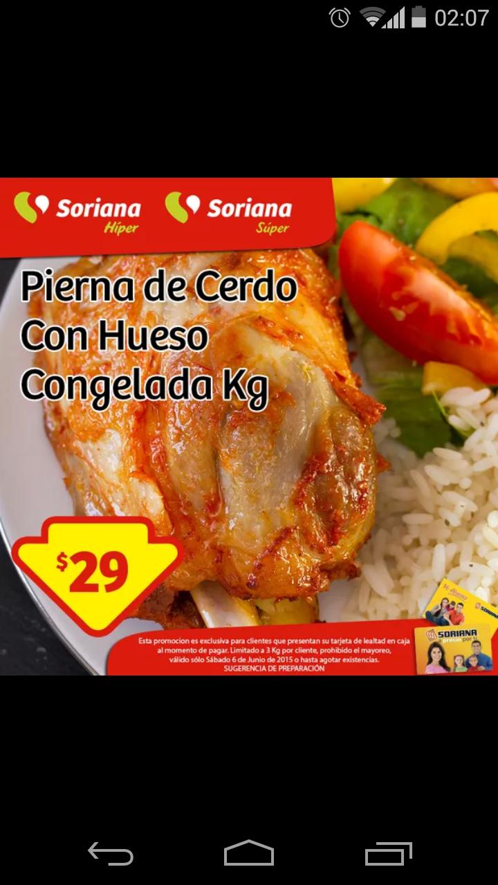 Soriana: Pierna de cerdo c/hueso congelada