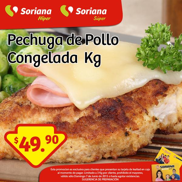 Soriana: Pechuga de pollo congelada a $49.90
