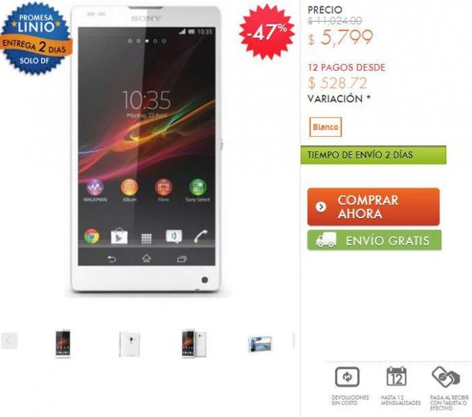 Linio: Sony Xperia ZL desbloqueado $5,219