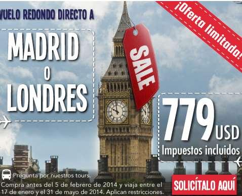 Mundo Joven Outlet: vuelo redondo a Madrid y Londres $779 USD, Japón y China $899 y +