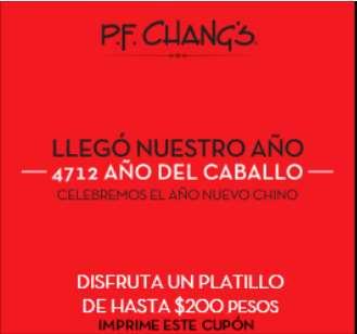 P.F. Chang's: cupón para platillo de hasta $200 con consumo mínimo (se necesita FB)