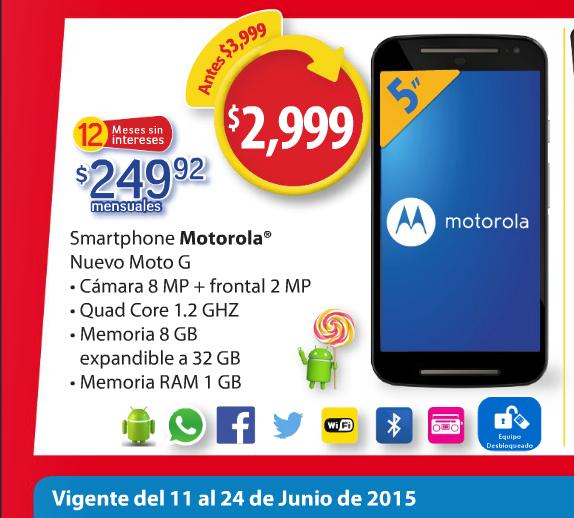 Walmart: Nuevo Moto G (segunda Gen): $2999