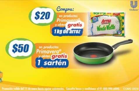 Sartén o arroz gratis comprando Margarina Primavera