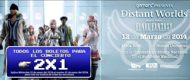 Gamers: 2x1 en boletos para concierto Final Fantasy y 30% en cualquier juego