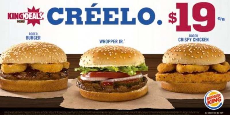 Burger King: 3 hamburguesas a $19 cada una