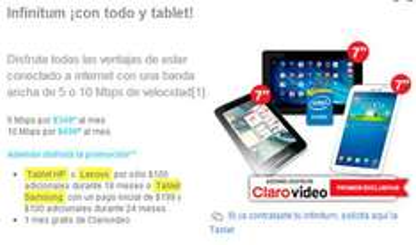 Telmex: tablet Samsung Galaxy Tab 3 con $199 + $100/mes por 24 meses (clientes Infinitum)