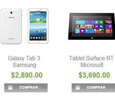 "Sam's Club: Surface RT de 32GB $3,699 y Galaxy Tab 3 7"" $2,890"