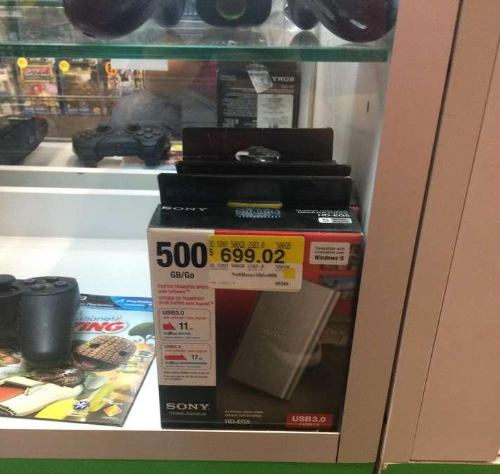 Bodega Aurrerá: disco duro Sony 500GB $699