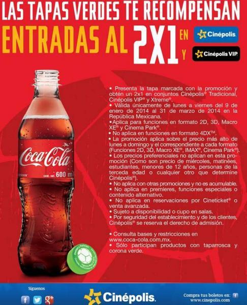 2x1 en Cinépolis, McDonald's, refrescos gratis y más en las tapas de Coca, Sprite, Fanta, etc