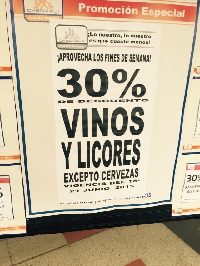 Chedraui: 30% de descuento en vinos y licores