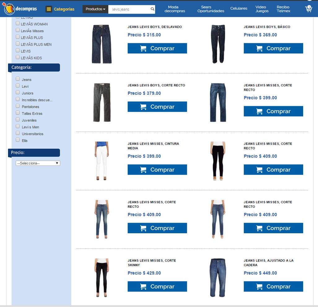 DeCompras, Jeans Levi´s en oferta, para niño, dama y caballero