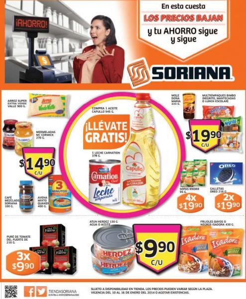Folleto de ofertas en Soriana del 10 al 16 de enero