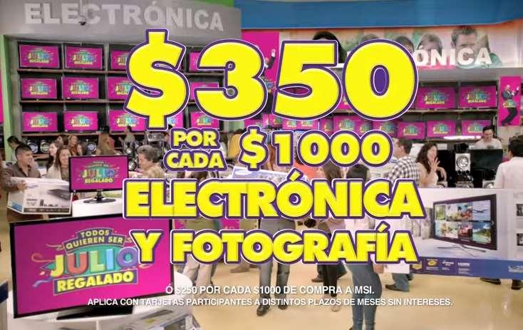 Ofertas de Julio Regalado 2015 en La Comer: $350 de descuento por cada $1,000 en electrónica