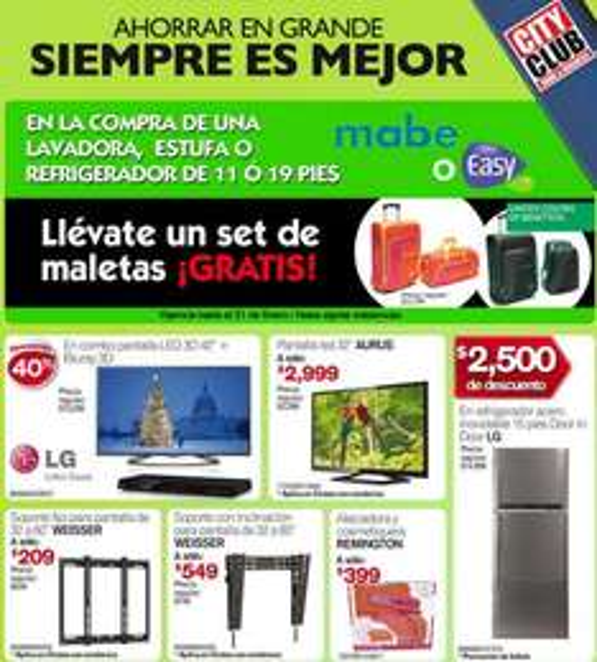 """City Club: Pantalla LG LED 3D 42"""" y blu-ray 3D $7,979 y gratis set de maleta comprando línea blanca"""
