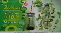 FARMACIAS DEL AHORRO: Mason Jar a $10 en la compra de 2 limonada 7UP de 600 Ml.