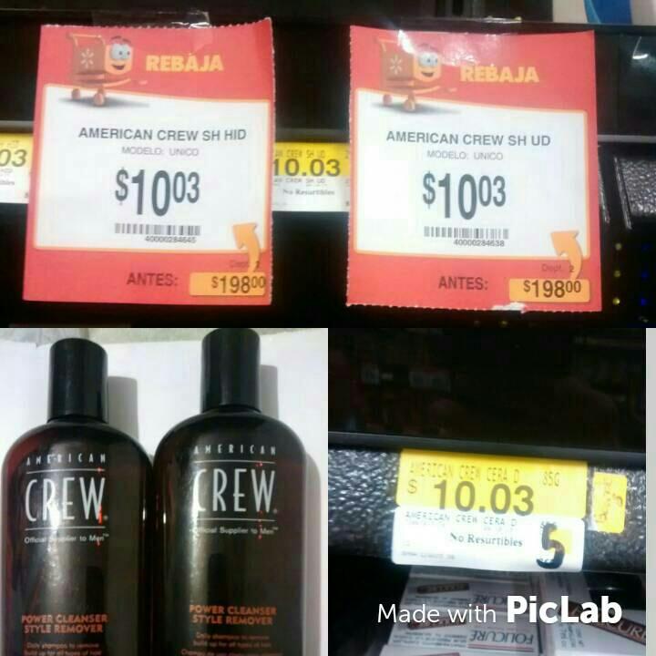 Walmart: shampoos y ceras American crew $10 pesos