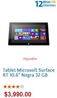 Walmart: Surface RT 32GB $3,990 y 12 meses sin intereses