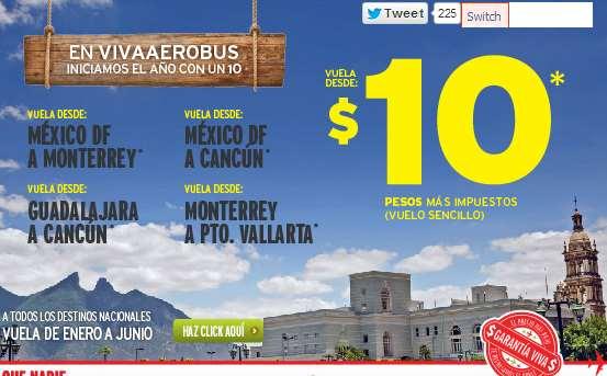 Vivaaerobus: vuelos nacionales a $10 más impuestos