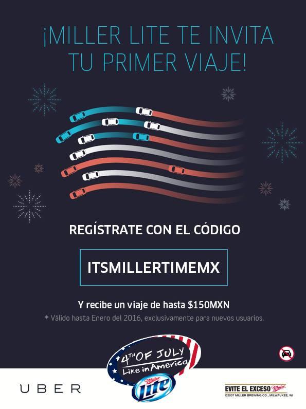 Uber: 150 pesos GRATIS en tu primer viaje