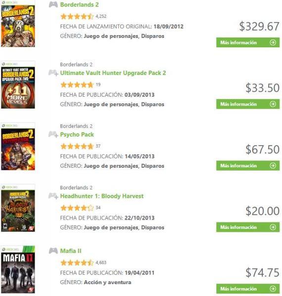Xbox Live: BioShock 2 o Duke Nukem Forever $75, Mafia II $68 y más