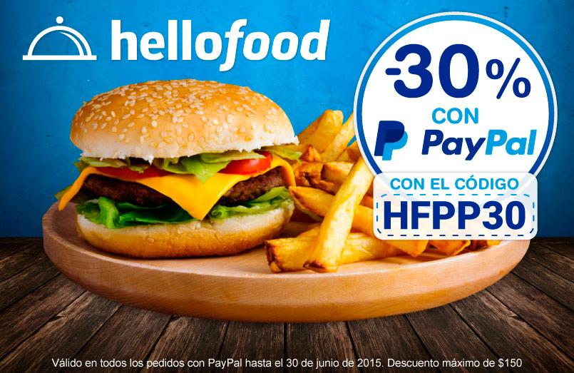 Hellofood: 30% de descuento pagando con Paypal
