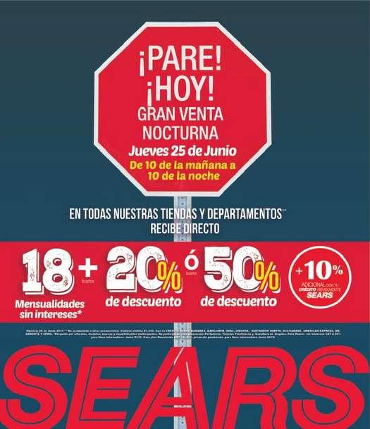 Venta nocturna Sears 25 de junio