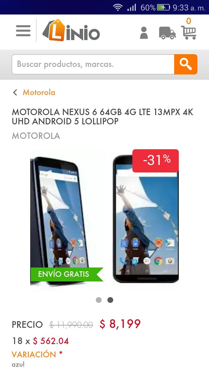 Linio: Nexus 6 de 64GB $8,199
