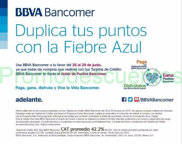 Dobles Puntos Bancomer del 26 al 29 de junio
