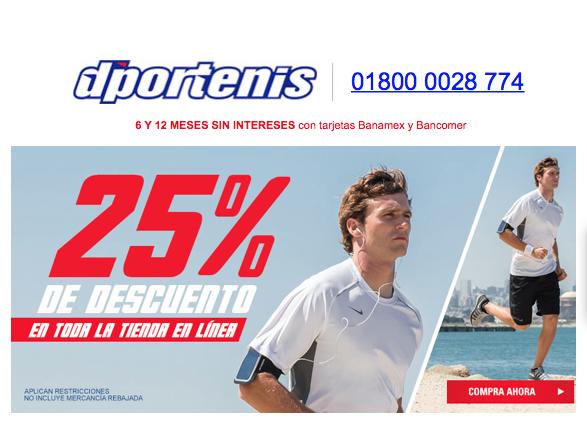 Dportenis: 25% de descuento en casi todo el sitio