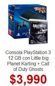 Walmart: PS3 de 12GB con LBP Karting y Call of Duty Ghosts $3,591 con MP