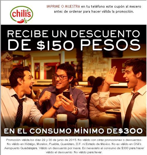 Chilli's: $150 de descuento en consumo de $300