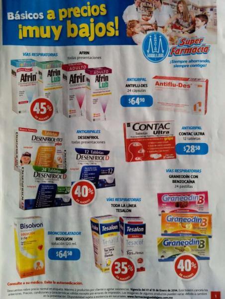 Folleto de ofertas en Farmacias Guadalajara del 1 al 15 de enero de 2014