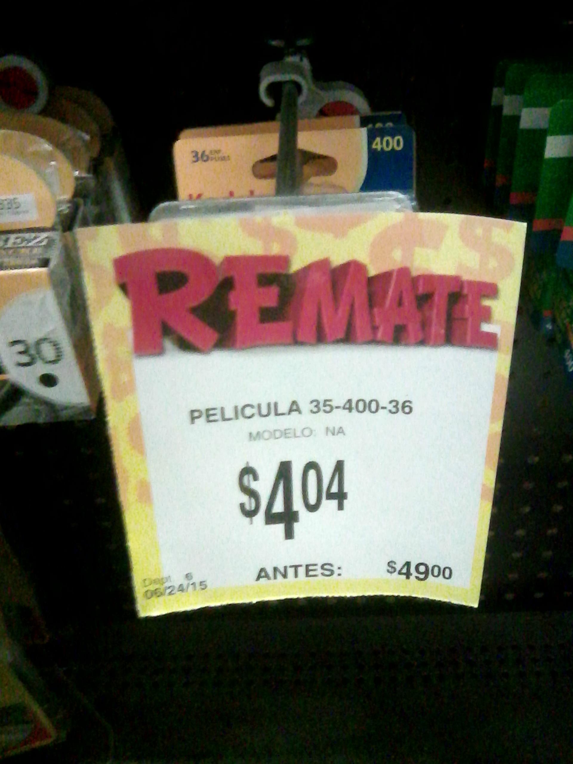 Bodega Aurrerá: rollo kodak asa 400 de 36 a $4.04 (de $49)