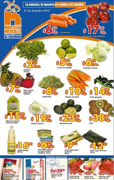 Ofertas de frutas y verduras en Chedraui diciembre 31 y enero 1