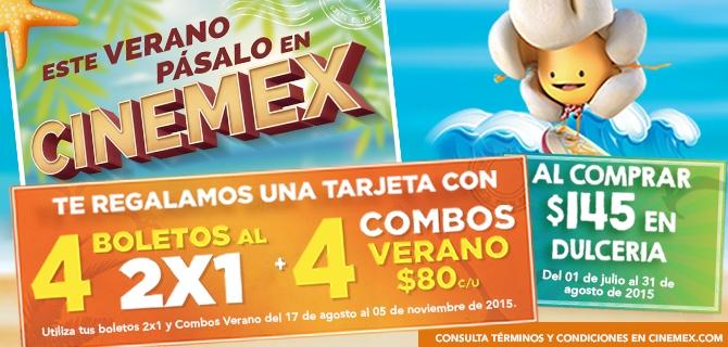 Verano Cinemex 2015: 2x1 para todas las salas + meses de cine GRATIS comprando en dulcería