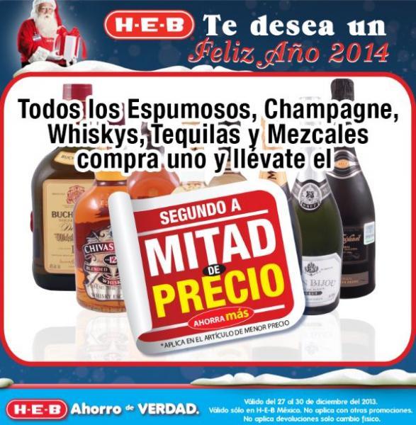 HEB: 2x1 y medio en tequilas, champañas, whiskys, espumosos y más