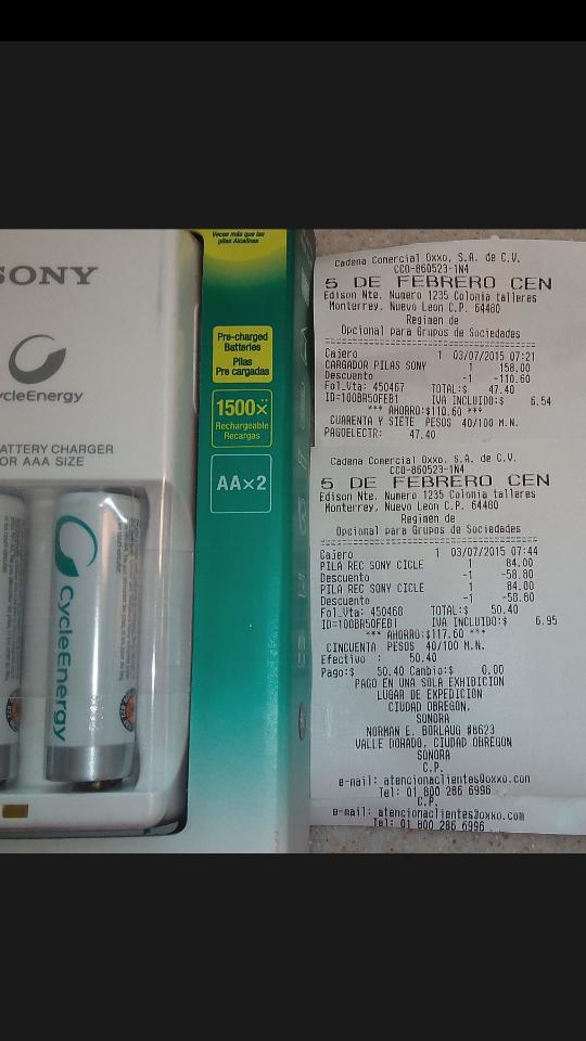 Oxxo: cargodor Sony $47 o pilas Sony recargables AA $25