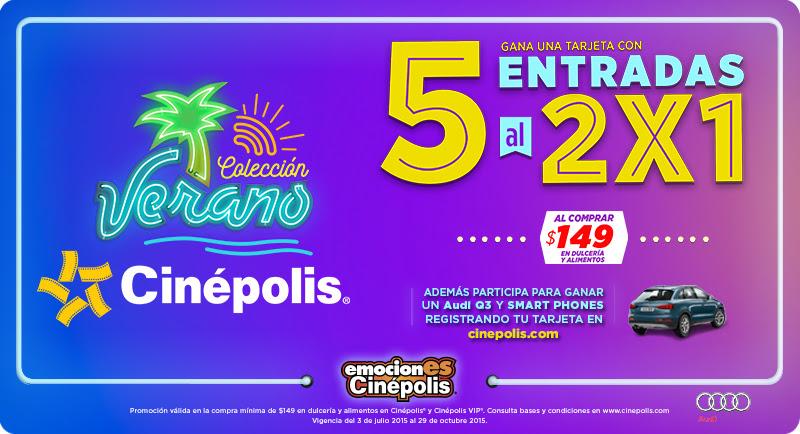 Cinepolis: 5 boletos al 2x1 comprando $149 en dulcería