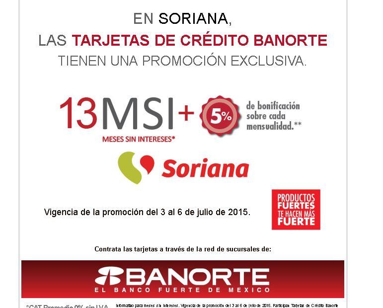 Soriana: 13 Meses sin intereses y 5% de bonificacion con Banorte