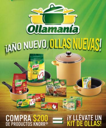 Juego de ollas gratis comprando Knorr