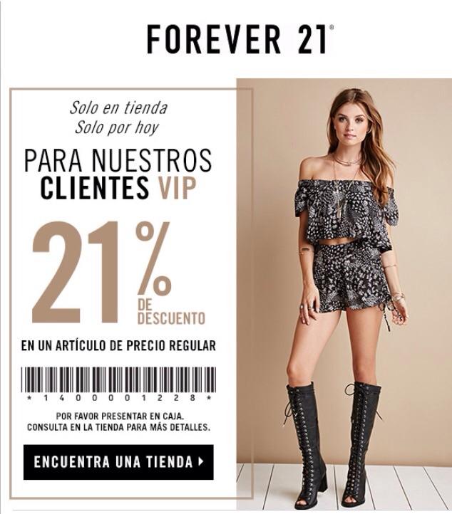 Forever 21 descuento de 21% en un artículo
