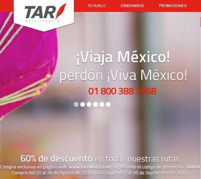 Línea aérea TAR: 60% de descuento para viajar en septiembre y 50% en agosto