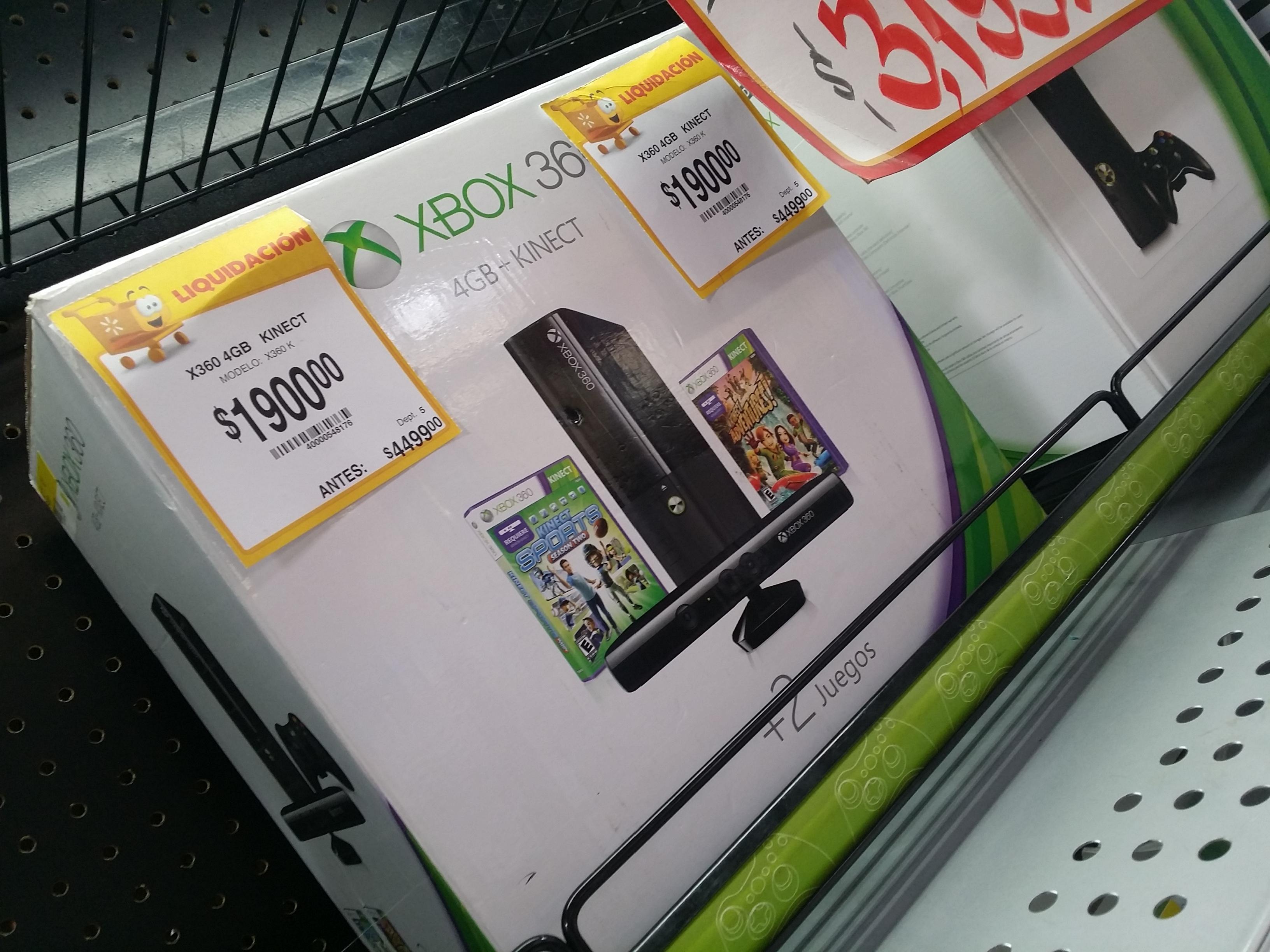 Walmart: Xbox 360 4GB con Kinect y 2 juegos $1,900
