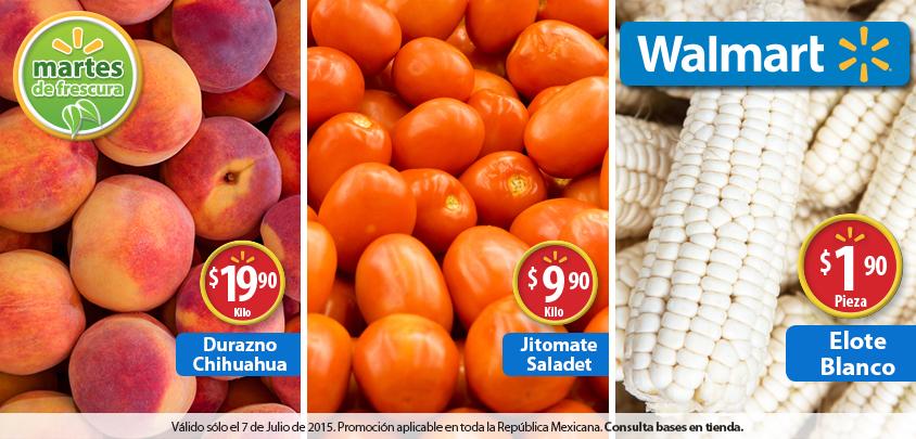 Walmart: Martes de Frescura 7 de Julio. Elote Blanco 1.90 la Pieza , Durazno Chihuahua 19.90 el kilo y Mas