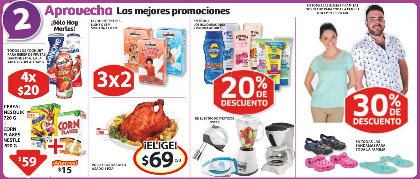 Soriana: 30% de descuento en sandalias y ropa de verano, 3x2 en leche Soriana y más
